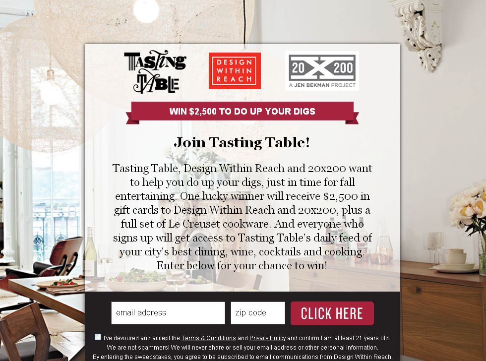 Tasting Table Design Within Reach 20×200 Fall Entertaining 2012 Sweepstakes!