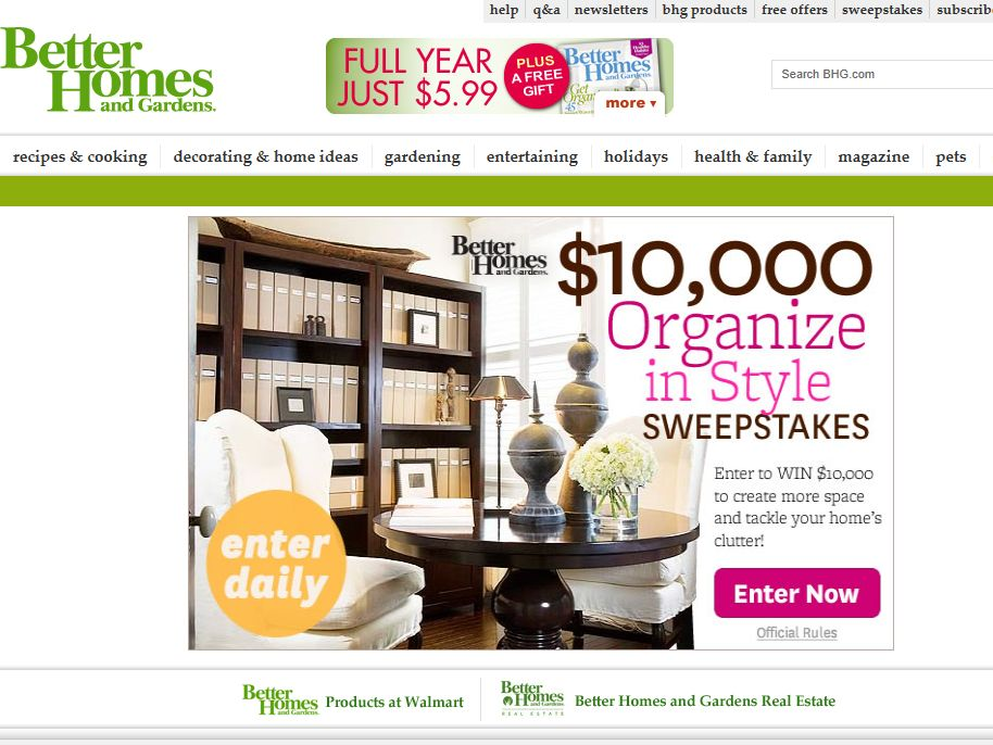 Better Homes & Gardens Organize in Style Sweepstakes