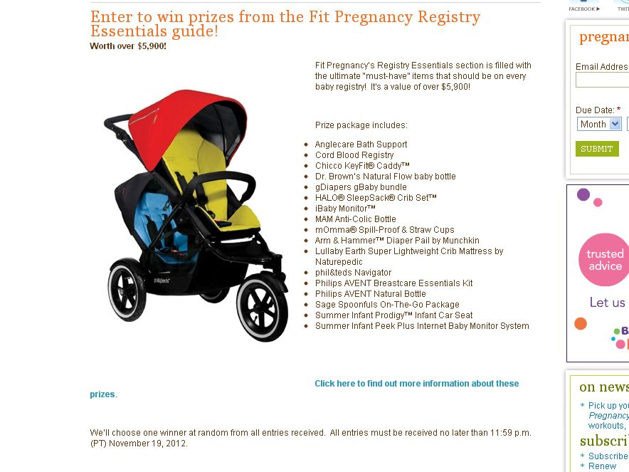 The Fit Pregnancy's Registry Essentials Sweepstakes!