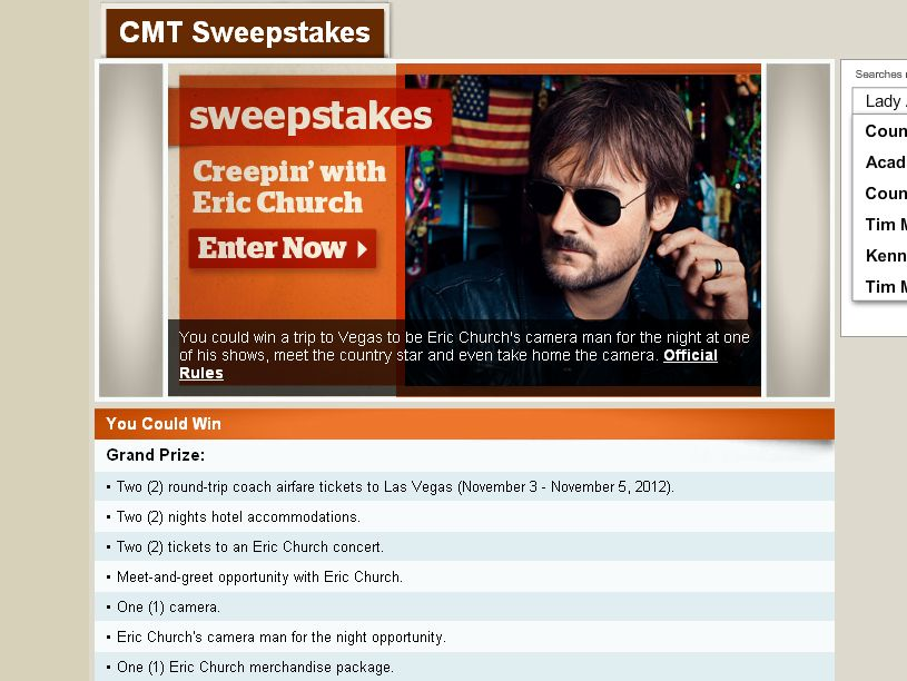 The Creepin' with Eric Church Sweepstakes!