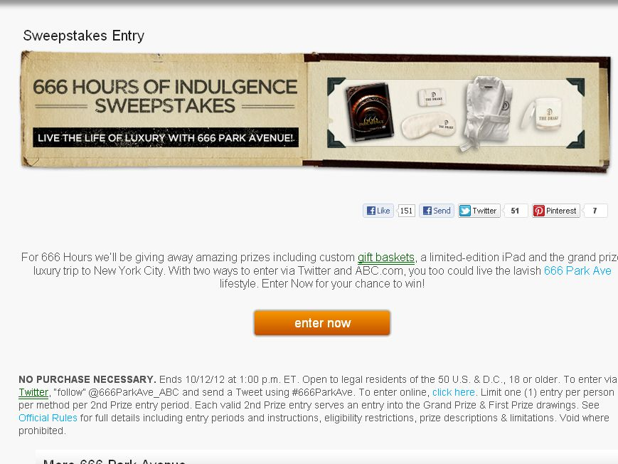 666 PARK AVENUE – 666 Hours of Indulgence SWEEPSTAKES!