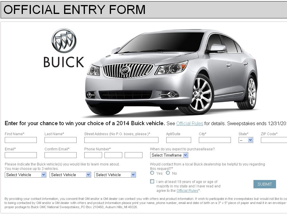 The 2012 – 2013 Buick GMC National Sweepstakes!