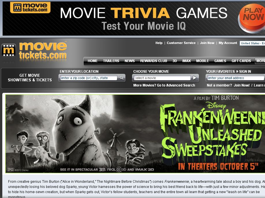 The Frankenweenie Unleashed Sweepstakes!