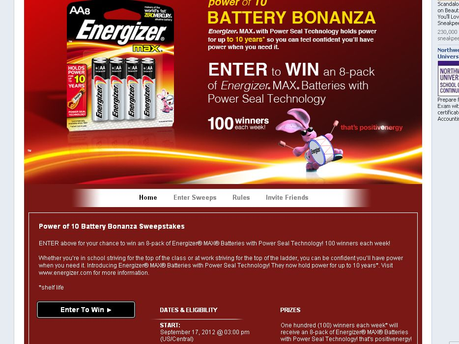 Energizer Power of 10 Battery Bonanza Sweepstakes!