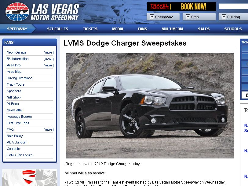 Las Vegas Motor Speedway Charger Sweepstakes!