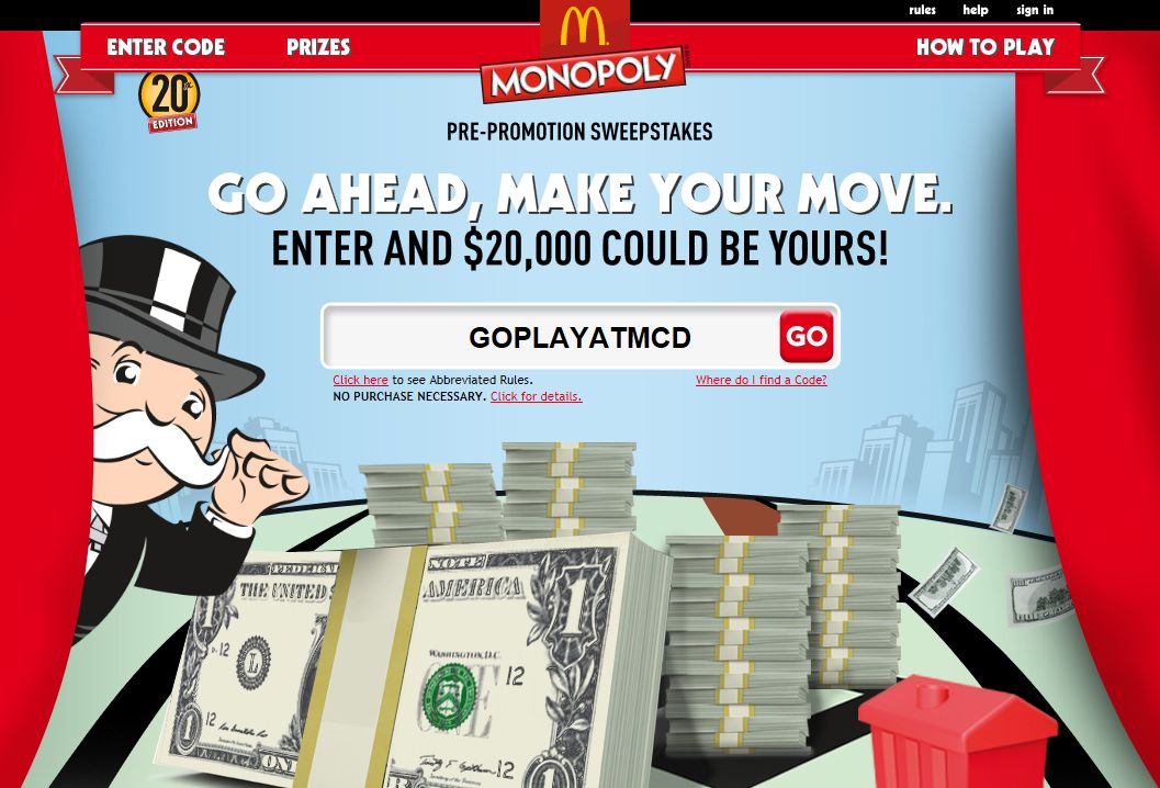 2012 MONOPOLY Game at McDonald's $20,000 Pre-Promotion Sweepstakes