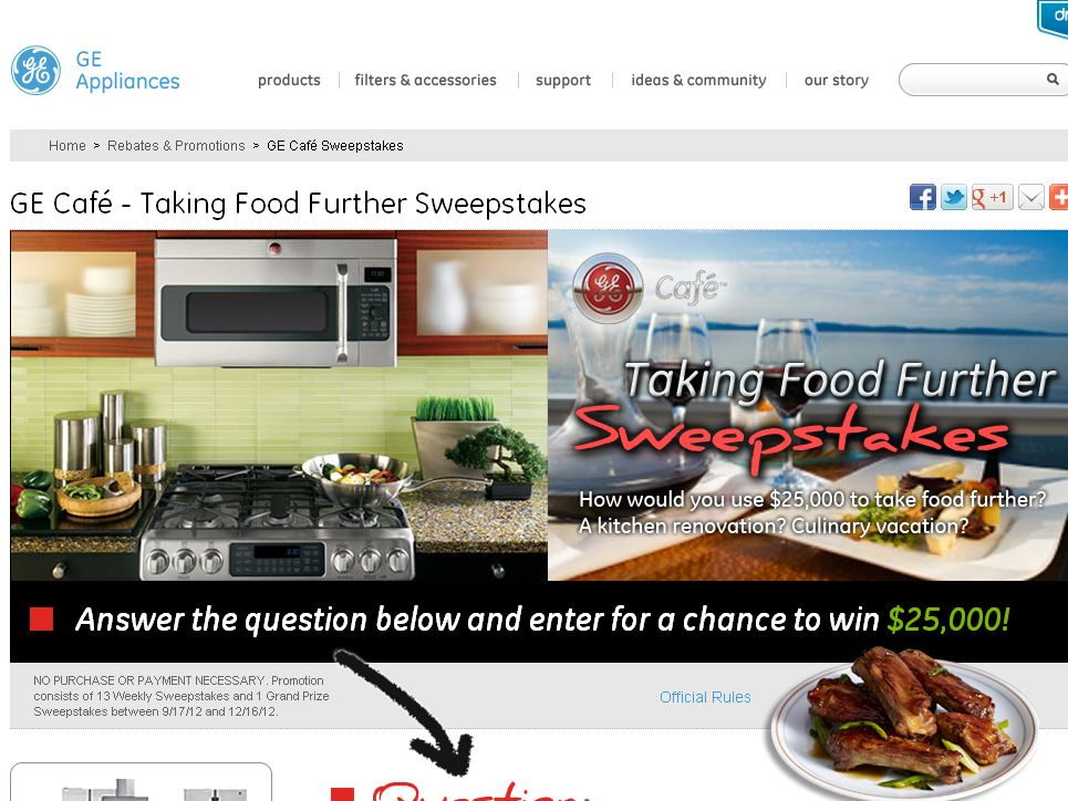 The GE Café Taking Food Further Sweepstakes!