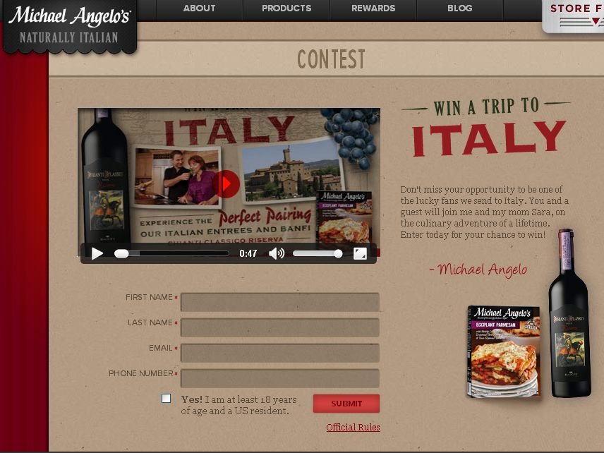 Trip to Italy Sweepstakes!