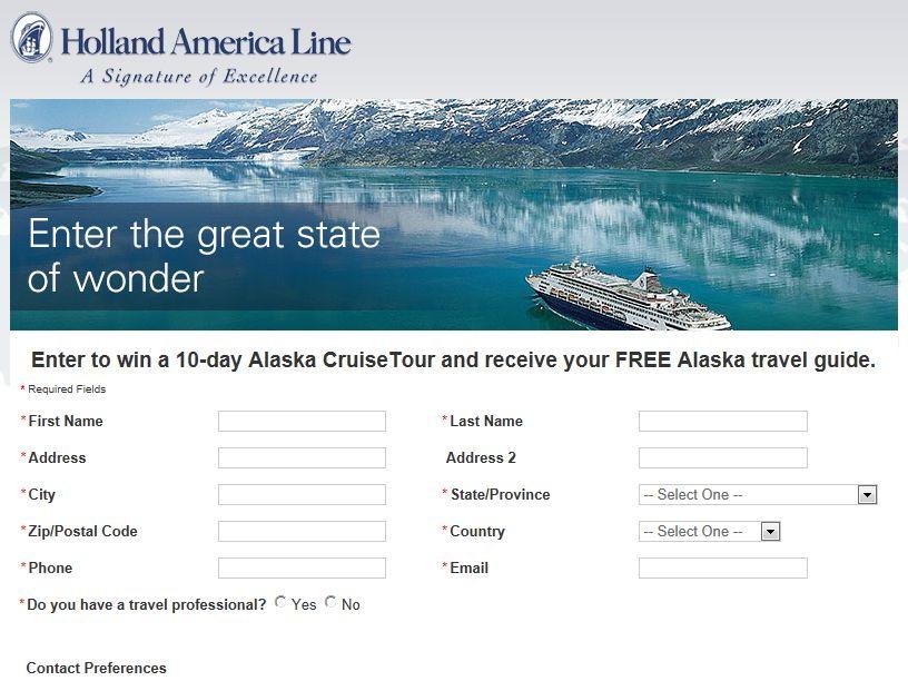10-day Alaska CruiseTour for Two 2012-2013 Sweepstakes