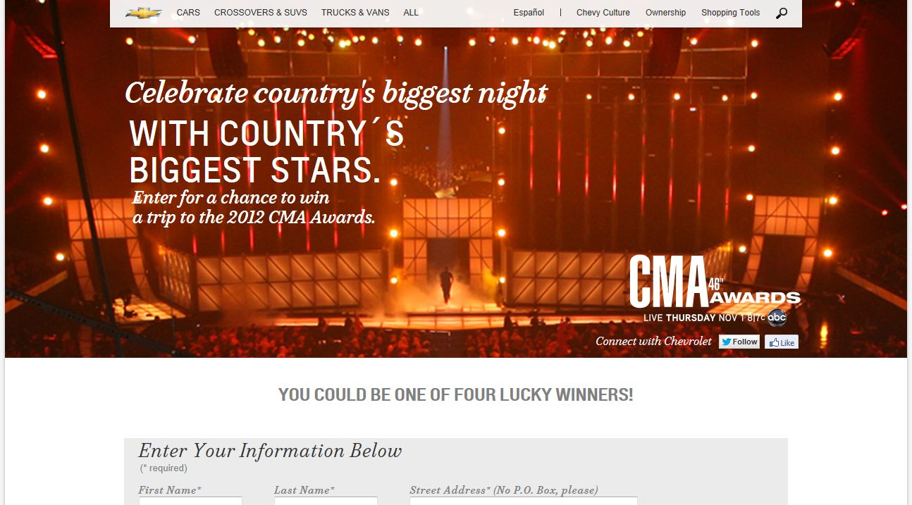 2012 Chevrolet Road to Nashville Sweepstakes