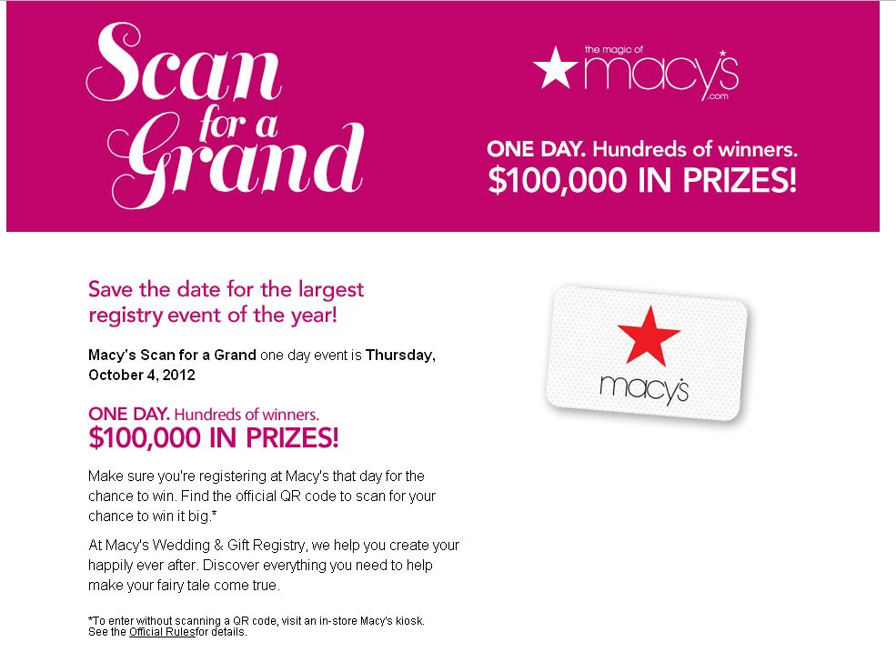 Macy's Scan for a Grand Instant Win Game!
