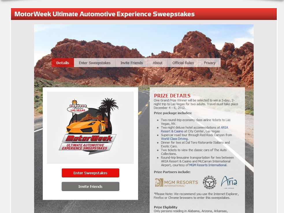 The MotorWeek Ultimate Automotive Experience Sweepstakes!