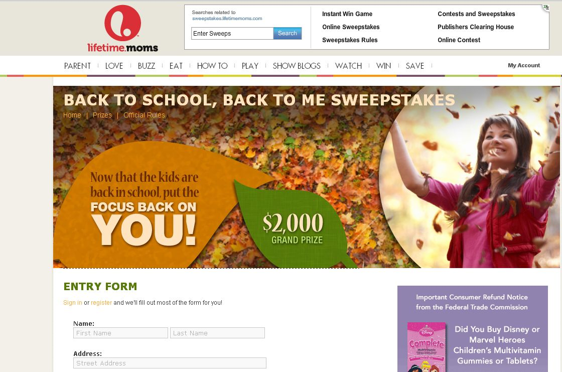 Back To School Back To Me Sweepstakes!