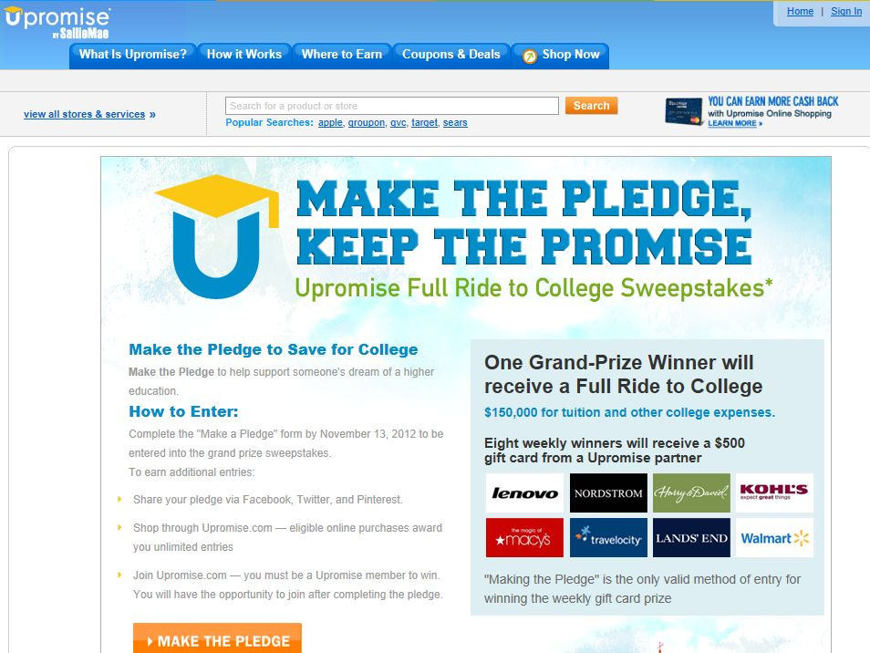 Make the Pledge, Keep the Promise: Upromise Full Ride to College Sweepstakes and Weekly Gift Card Giveaway
