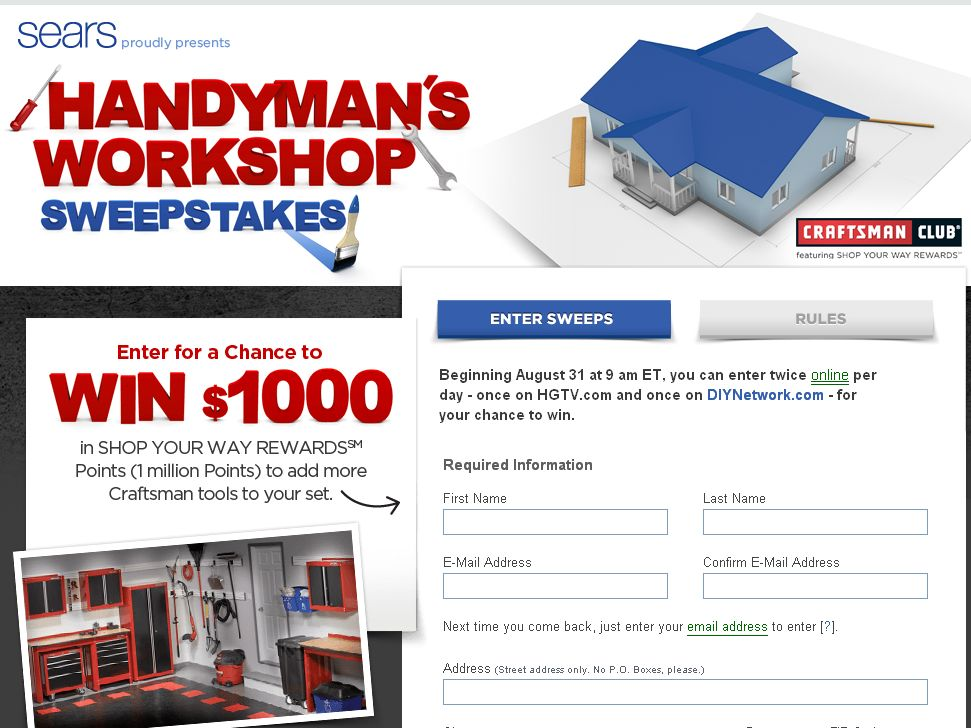 Sears Handyman's Workshop Sweepstakes!