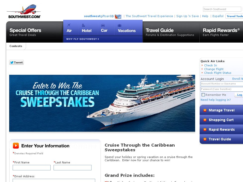 Southwest Airlines 5-night or 7-night Caribbean Cruise with Royal Caribbean Limited Cruise Line Sweepstakes!