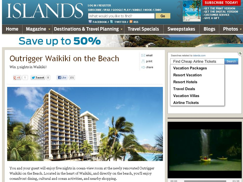 The Outrigger Waikiki on the Beach Sweepstakes!