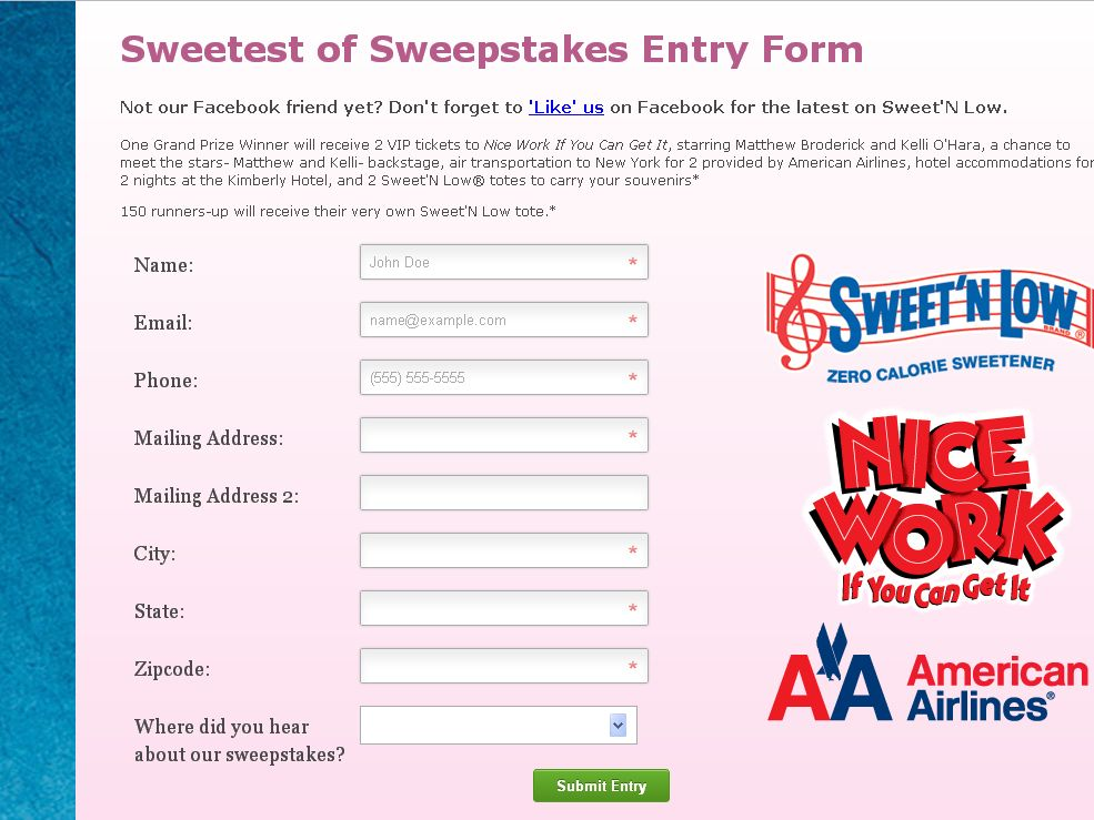 Sweet 'N Low Promotions Nice Work Sweepstakes!