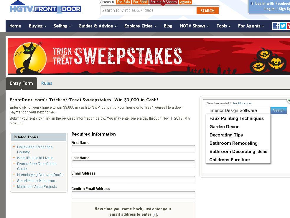 Frontdoor.com's Trick or Treat Sweepstakes!