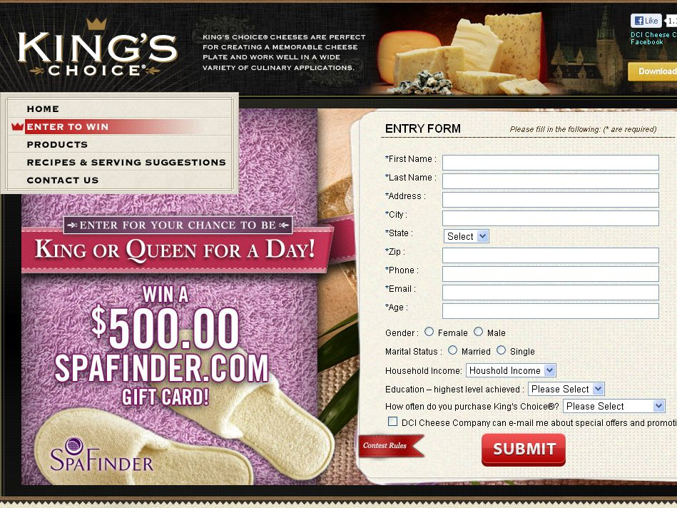 The King's Choice King or Queen for a Day Sweepstakes!