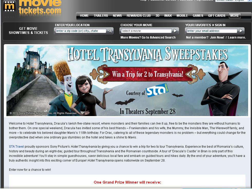 STA Travel Hotel Transylvania Sweepstakes!