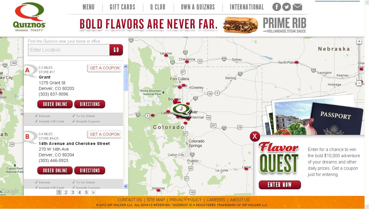 The Quiznos Flavor Quest Promotion!