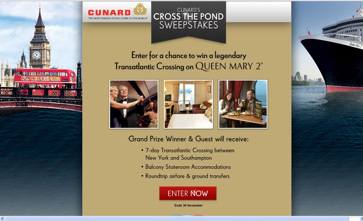 Cunard's Cross The Pond Sweepstakes!