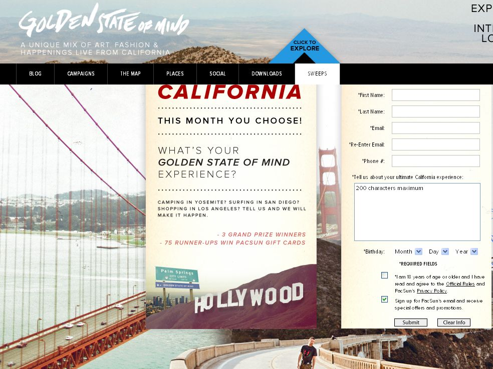 PacSun's Golden State of Mind Sweepstakes Event Series Create Your Own California Adventure Sweepstakes!