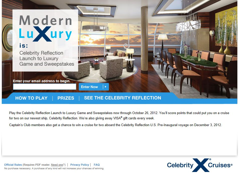 Celebrity Reflection Launch To Luxury Game And Sweepstakes