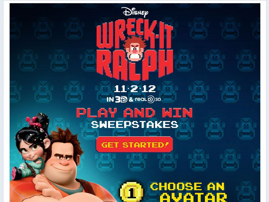 The Disney Wreck-It Ralph Play and Win Sweepstakes!