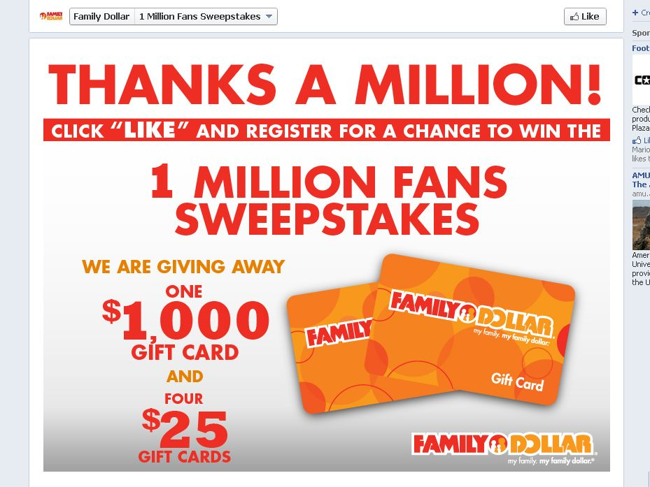 The Family Dollar 1 Million Fans Sweepstakes!