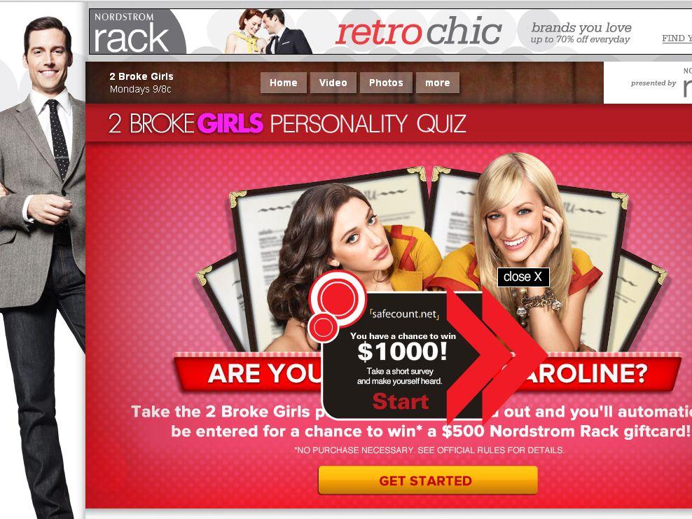2 Broke Girls Personality Quiz Sweepstakes!