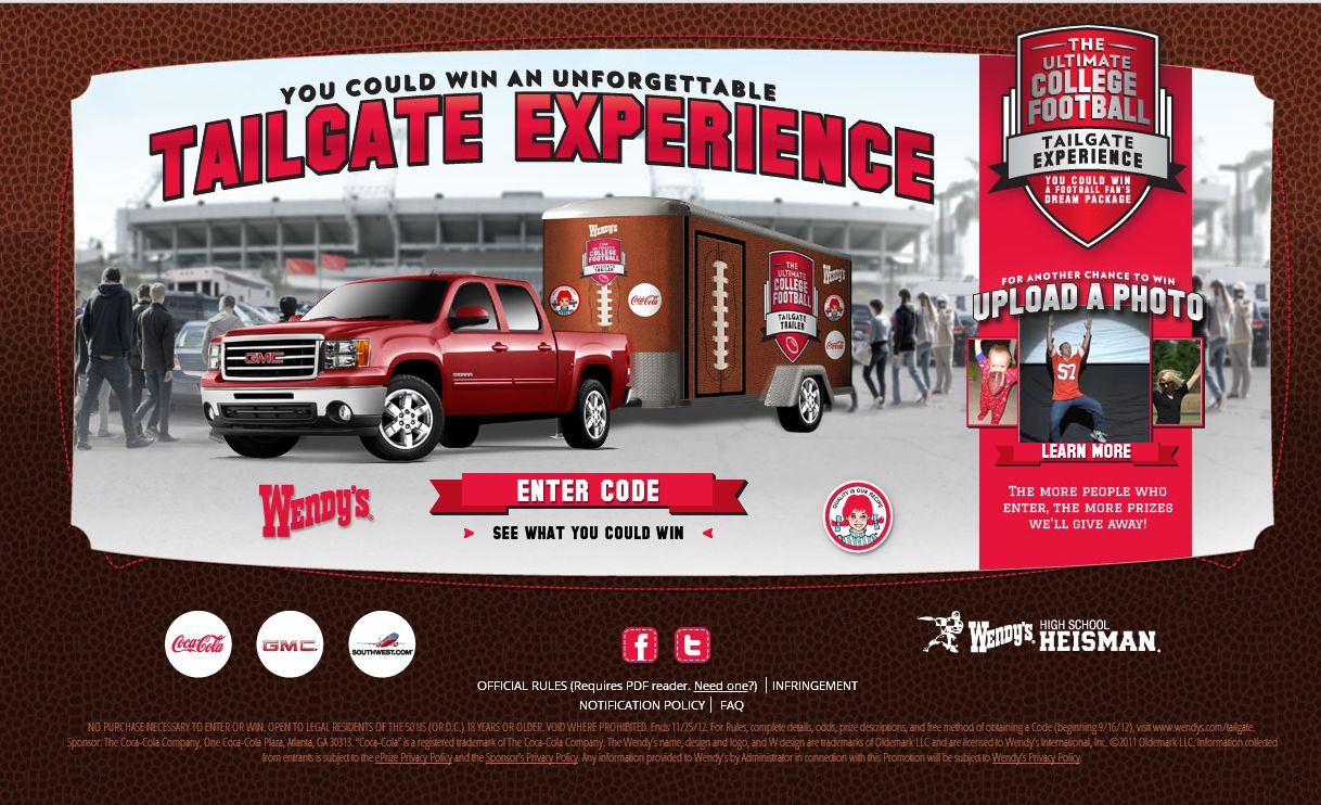 Wendy's Ultimate College Football Tailgate Experience (code)!