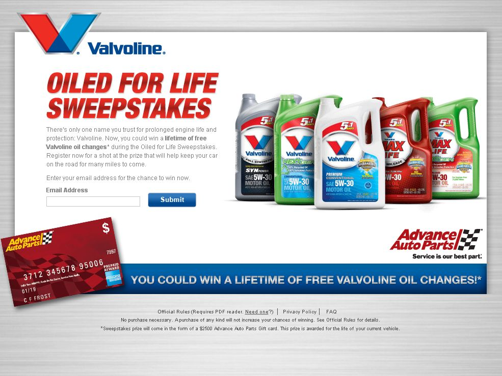 Valvoline Free For Life Of Your Current Vehicle Sweepstakes