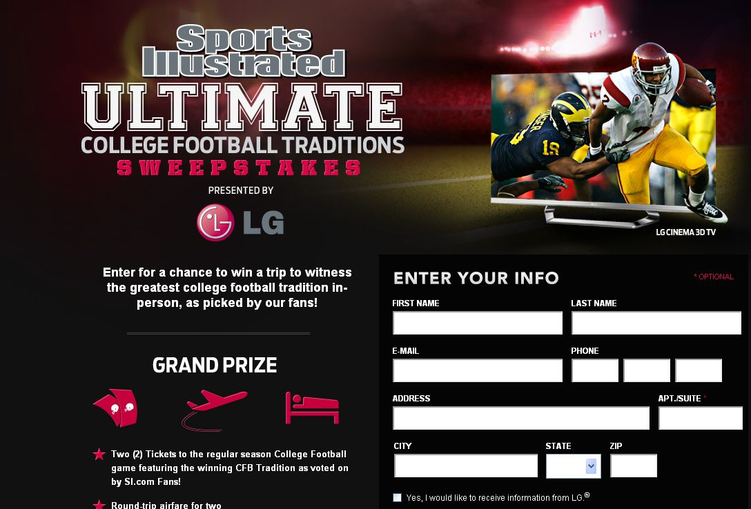 Sports Illustrated Ultimate College Football Traditions Sweepstakes
