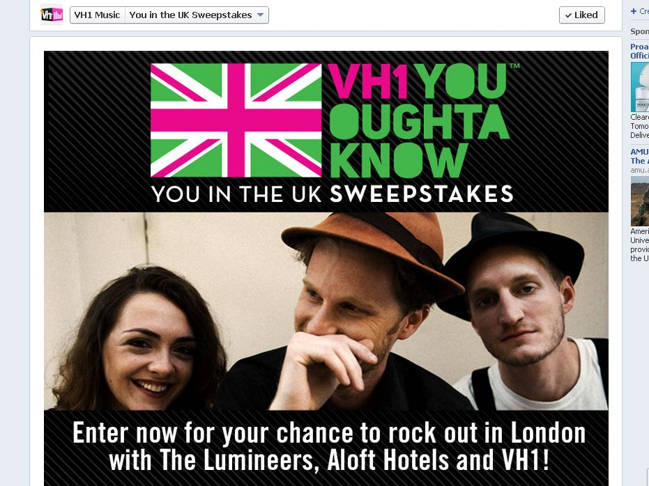 "VH1 Presents:  ""You in the U.K."" Sweepstakes"