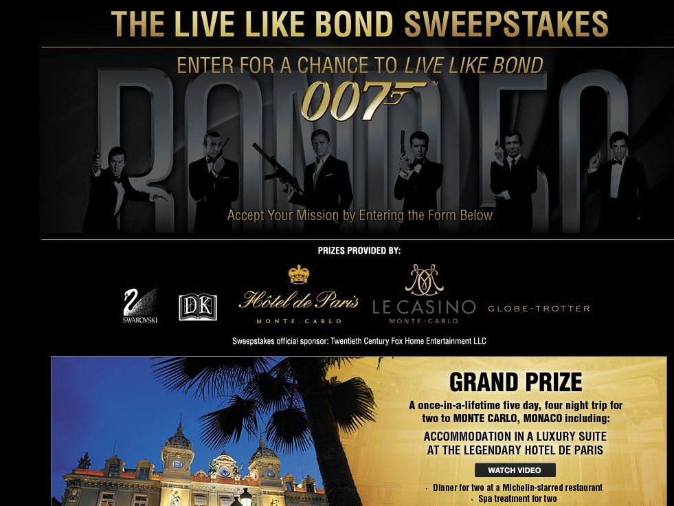 Live Like Bond Sweepstakes