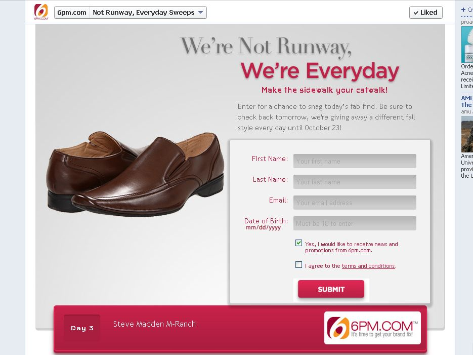6pm.com We're not Runway. We're Everyday Sweepstakes