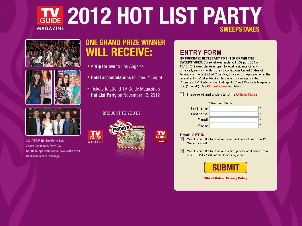 TV Guide Magazine Hot List Party Sweepstakes