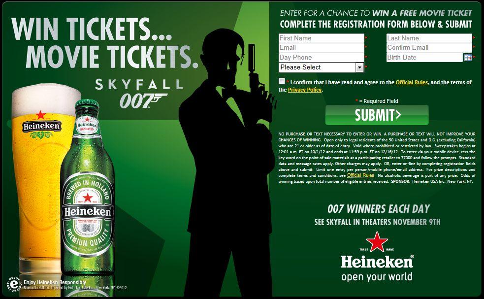 Heineken Skyfall Movie Tickets Sweepstakes