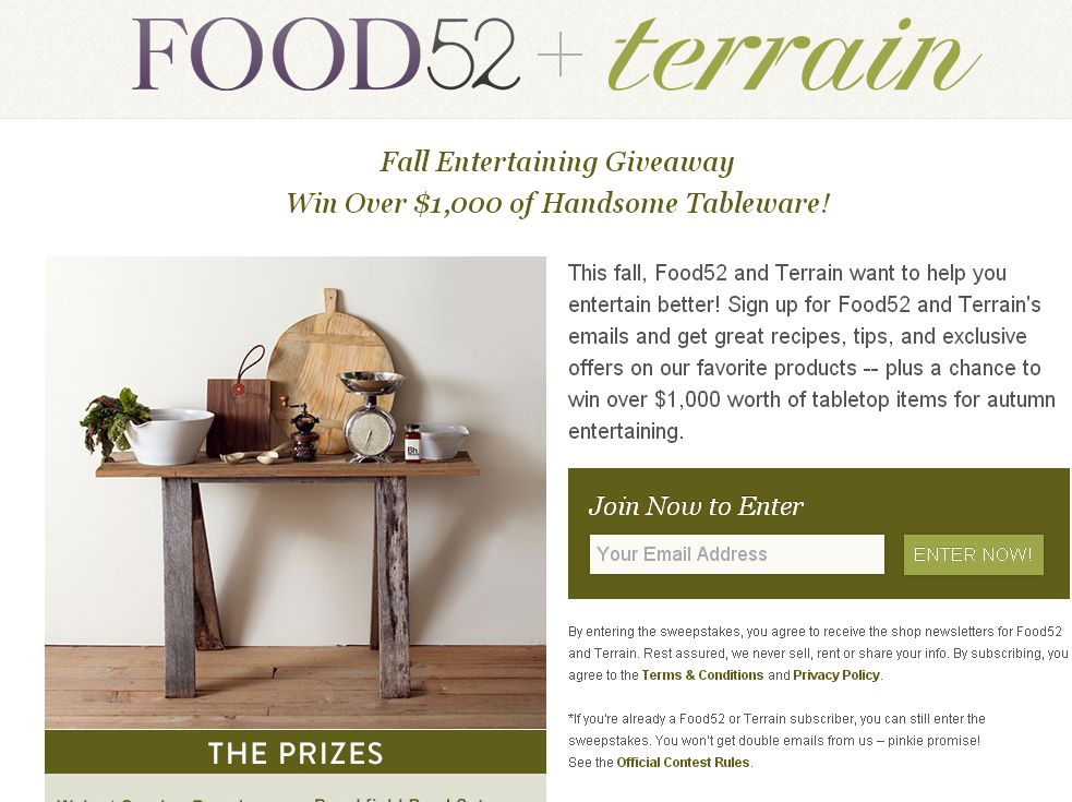 Food52 + Terrain's Fall Entertaining Giveaway