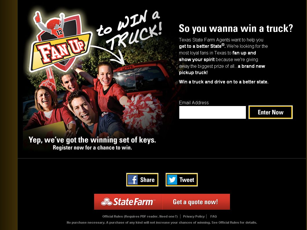 State Farm Fan Up Sweepstakes (Texas only)