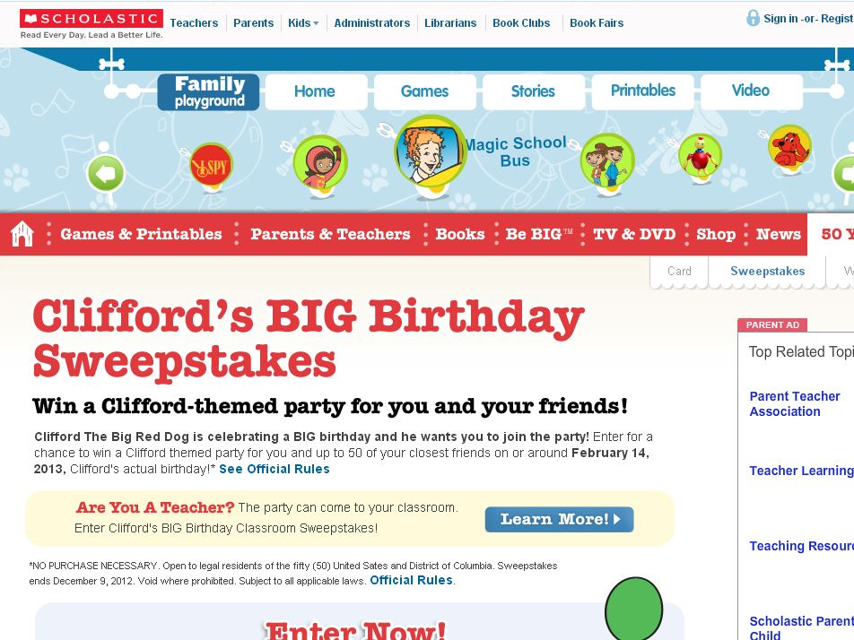 Scholastic Clifford's BIG Birthday Sweepstakes