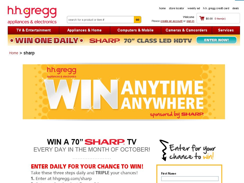 hhgregg Sharp TV Sweepstakes