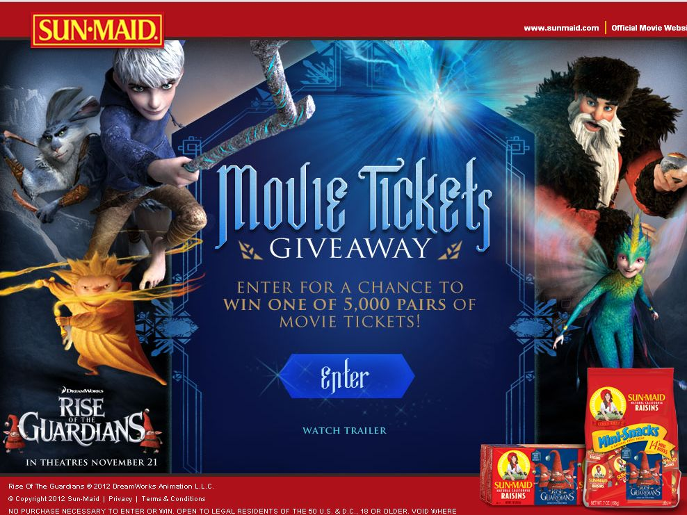 SUN-MAID'S MOVIE TICKETS GIVEAWAY