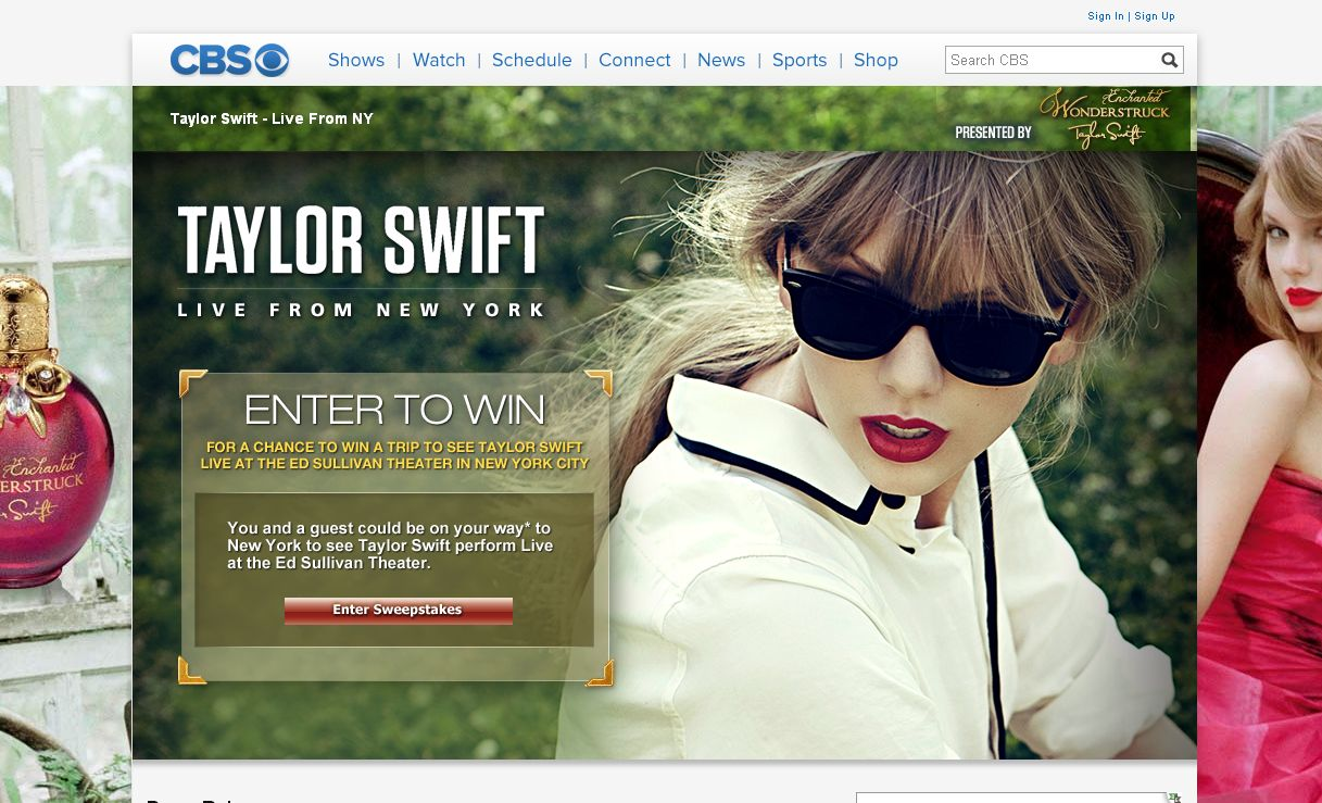 CBS Wonderstruck Presents Taylor Swift Live from New York Sweepstakes