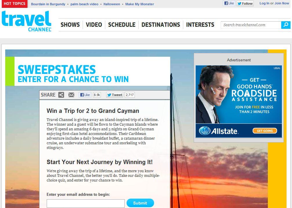 Travel Channel October 2012 Sweepstakes