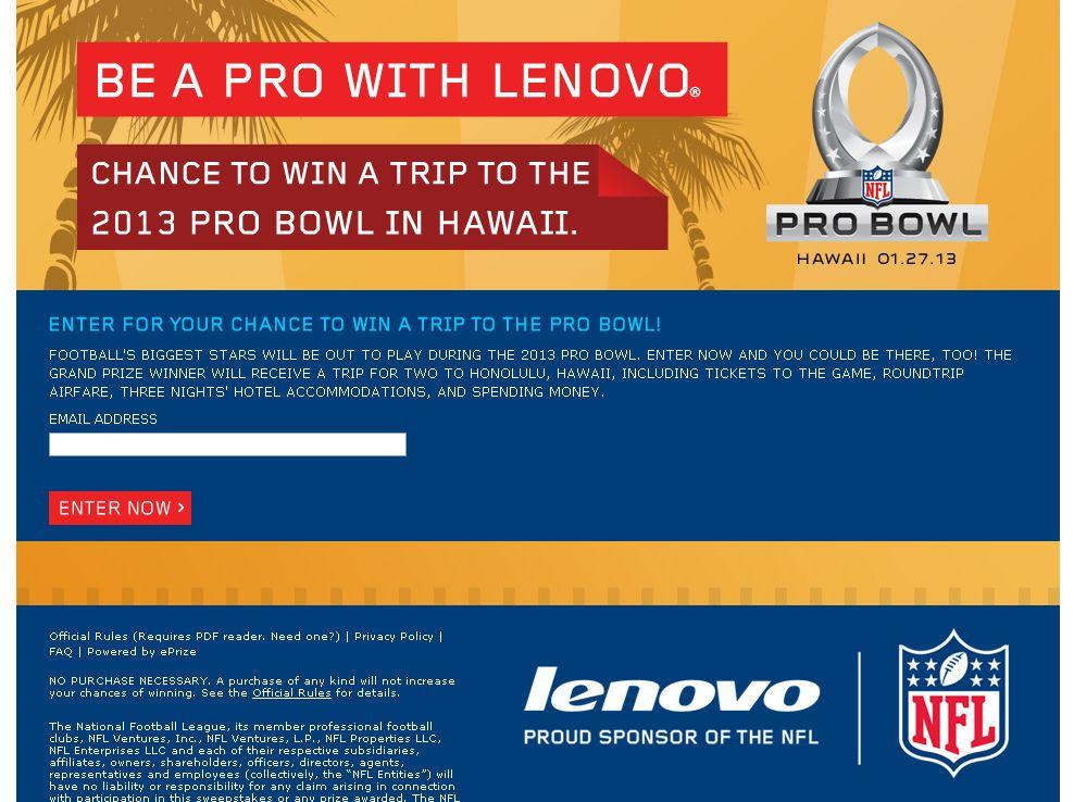 Lenovo 2013 Pro Bowl Sweepstakes at eTailers