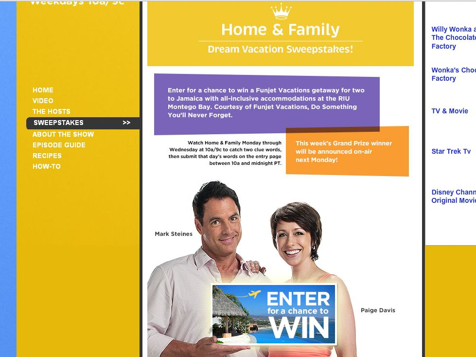 Hallmark Channel Home & Family Dream Vacation Sweepstakes