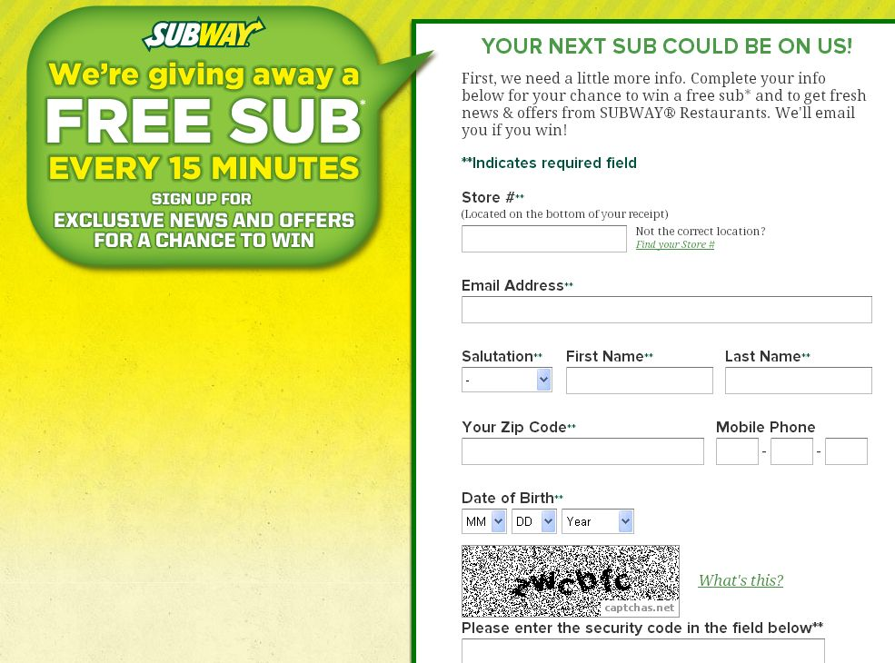 SUBWAY Text to Win Sweepstakes